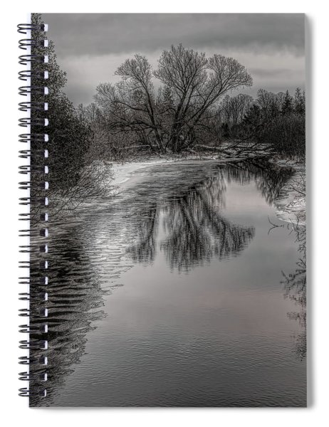 Plover River Black And White Winter Reflections Spiral Notebook