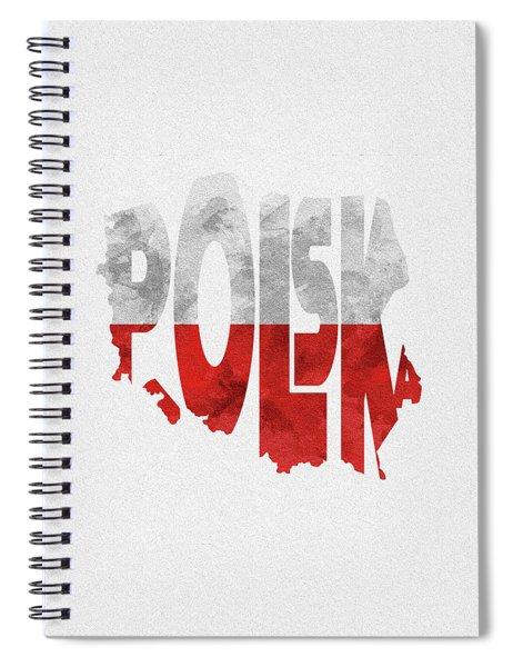 Poland Typographic Map Flag Spiral Notebook