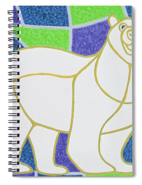 Polar Bear On Stained Glass Spiral Notebook