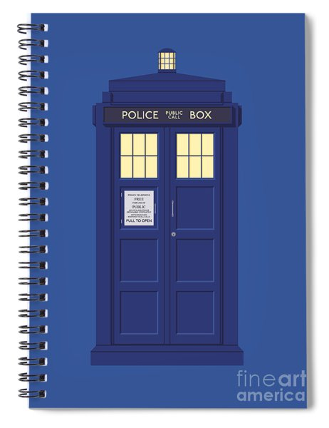 Police Box Phone Booth - Blue Spiral Notebook