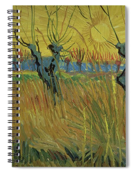 Pollarded Willows And Setting Sun Spiral Notebook