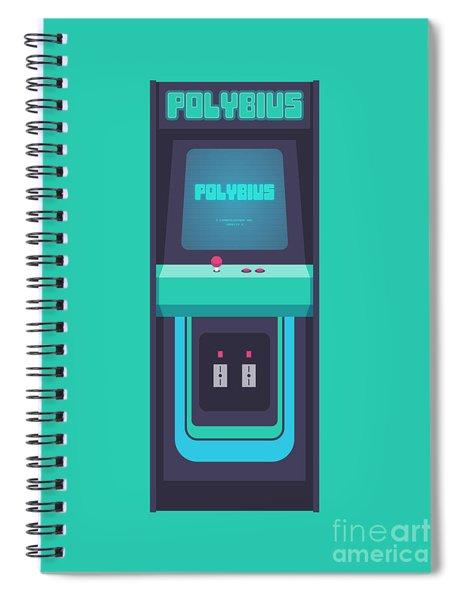 Polybius Arcade Game Machine Cabinet - Front Green Spiral Notebook
