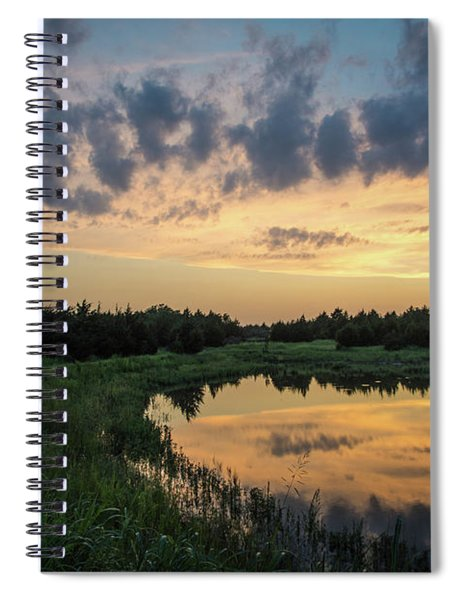 Pond And Sunset Spiral Notebook