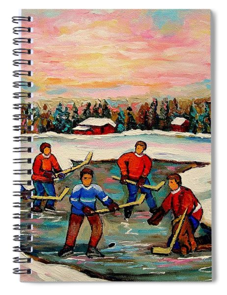 Pond Hockey Countryscene Spiral Notebook