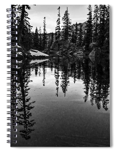 Pond On The Pacific Crest Trail Black And White Spiral Notebook