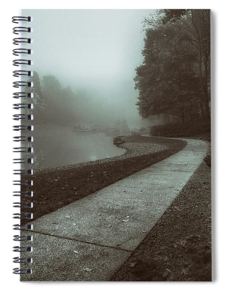 Pond Walk In Black And White Spiral Notebook