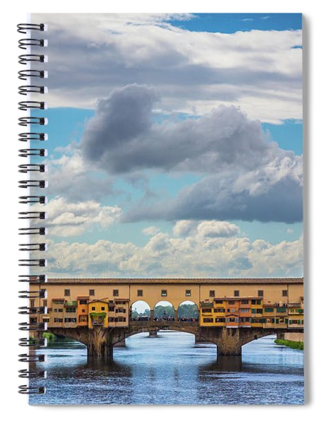 Spiral Notebook featuring the photograph Ponte Vecchio Clouds by Inge Johnsson