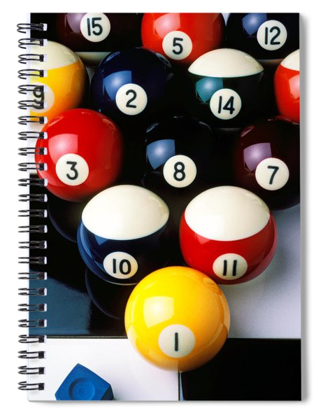 Pool Balls On Tiles Spiral Notebook by Garry Gay