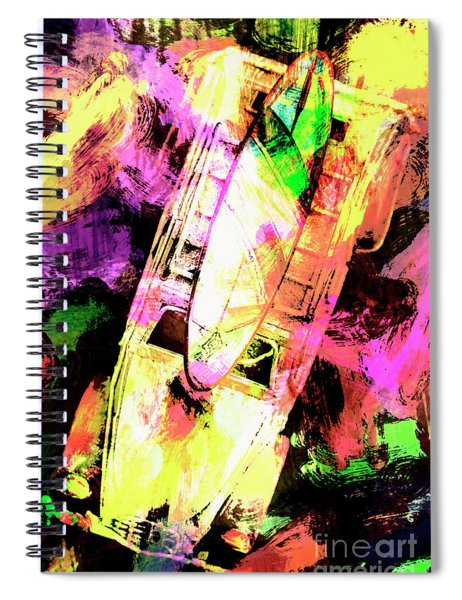 Pop Art Surf Cars And Painted Waves Spiral Notebook