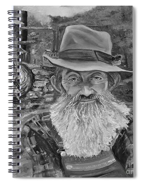 Spiral Notebook featuring the painting Popcorn Sutton - Black And White - Rocket Fuel by Jan Dappen