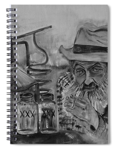 Spiral Notebook featuring the painting Popcorn Sutton - Black And White - Waiting On Shine by Jan Dappen