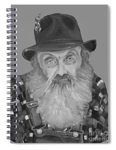 Spiral Notebook featuring the painting Popcorn Sutton Moonshiner Bust - T-shirt Transparent B And  W by Jan Dappen