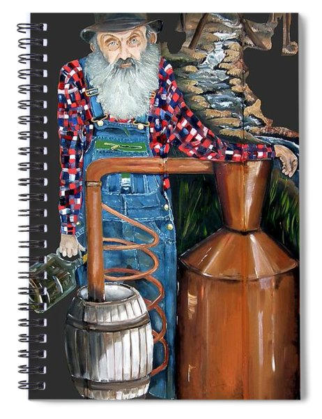Spiral Notebook featuring the painting Popcorn Sutton Moonshiner -t-shirt Transparrent by Jan Dappen
