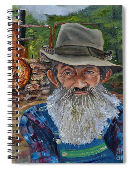 Spiral Notebook featuring the painting Popcorn Sutton - Rocket Fuel -white Whiskey by Jan Dappen