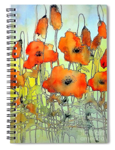 Poppies Abstraction Spiral Notebook