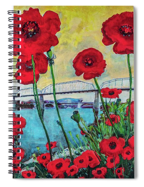 Poppies Along The Riverfront Spiral Notebook