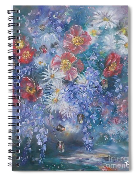 Poppies, Wisteria And Marguerites Spiral Notebook