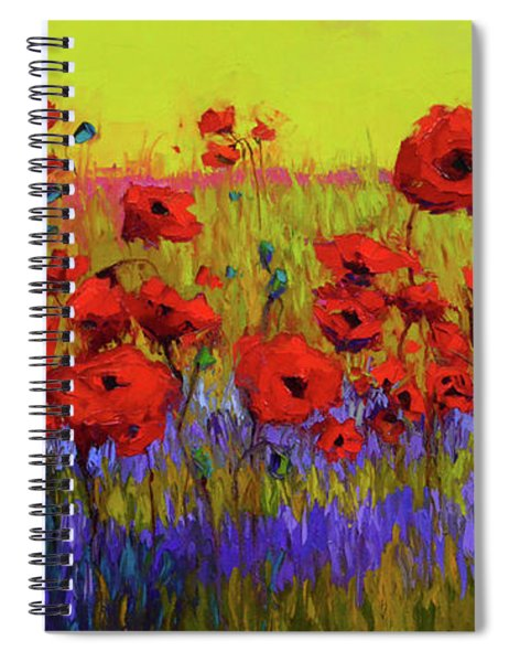 Poppy Flower Field Oil Painting With Palette Knife Spiral Notebook