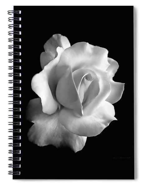 Porcelain Rose Flower Black And White Spiral Notebook