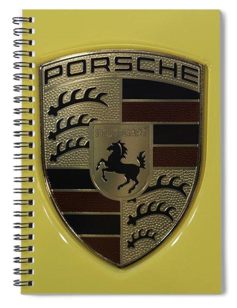 Porsche Emblem On Racing Yellow Spiral Notebook