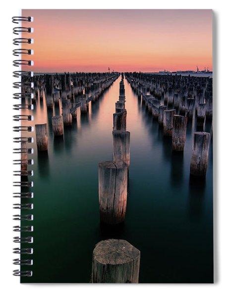 Port Melbourne Australia At Dusk Spiral Notebook