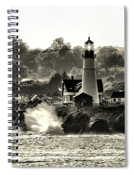 Portland Head Light At Cape Elizabeth In Black And White Spiral Notebook