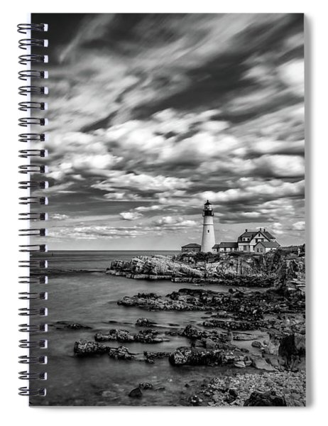 Portland Head Light In Black And White Spiral Notebook