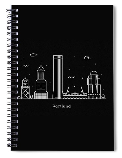 Portland Skyline Travel Poster Spiral Notebook