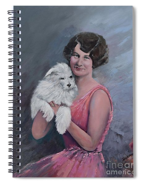 Spiral Notebook featuring the painting Maggie And Caruso -portrait Of A Flapper Girl by Jan Dappen