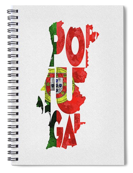 Portugal Typographic Map Flag Spiral Notebook
