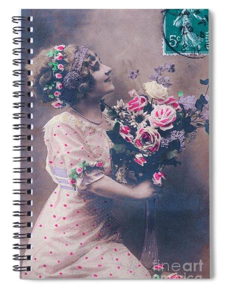 Postcard Girl With A Bouquet Spiral Notebook
