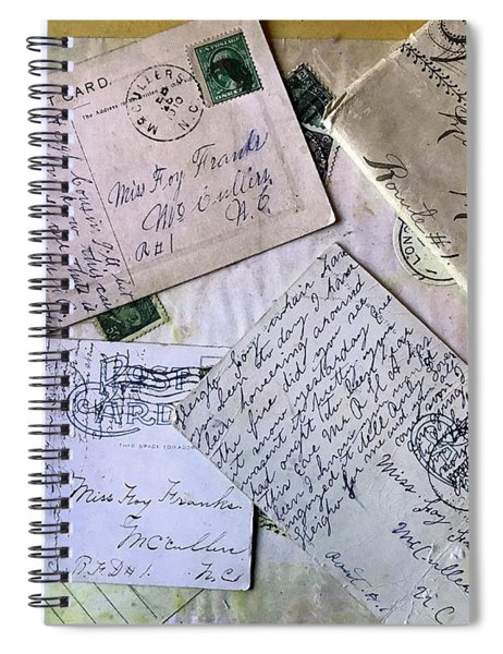 Spiral Notebook featuring the digital art Postcards And Proposals by Gina Harrison