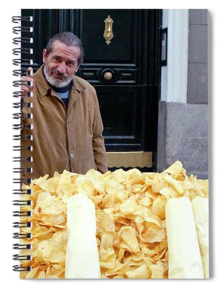 Spiral Notebook featuring the photograph Potato Chip Man by Lorraine Devon Wilke