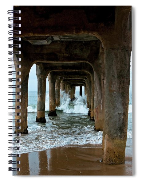 Spiral Notebook featuring the photograph Pounded Pier by Lorraine Devon Wilke