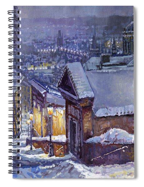 Prague Castle Steps Winter   Spiral Notebook