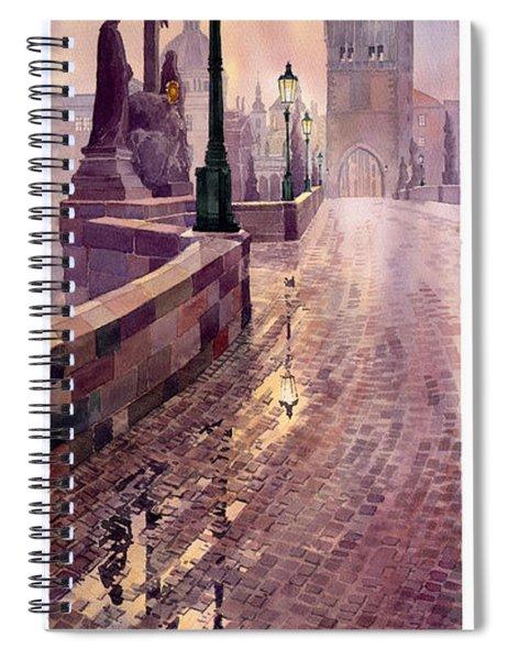 Prague Charles Bridge Night Light Spiral Notebook