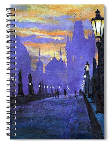 Prague Charles Bridge Sunrise Spiral Notebook