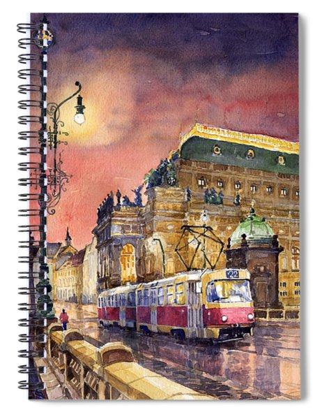Prague  Night Tram National Theatre Spiral Notebook