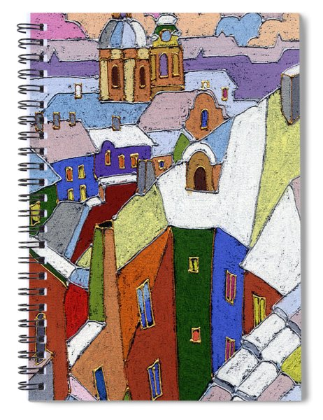 Prague Old Roofs Winter Spiral Notebook