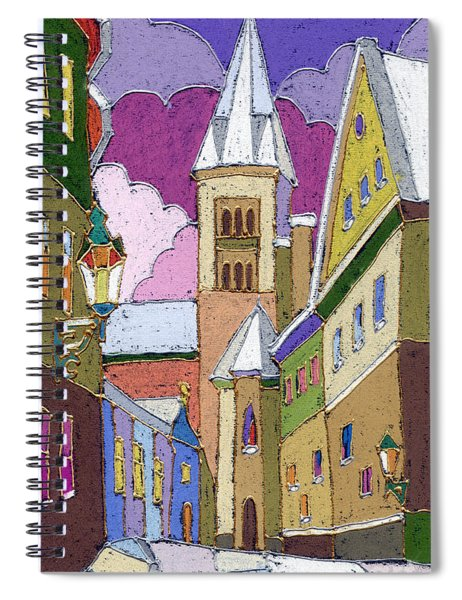Prague Old Street Jilska Winter Spiral Notebook