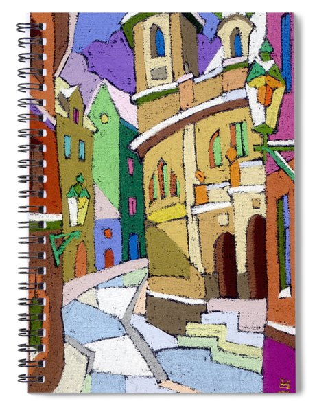 Prague Old Street Karlova Winter Spiral Notebook
