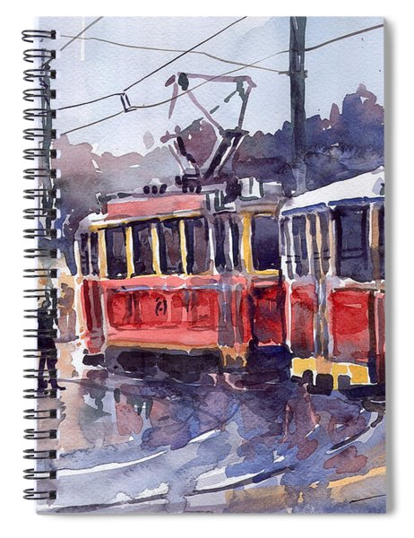 Prague Old Tram 01 Spiral Notebook