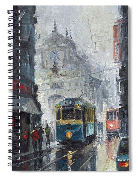 Prague Old Tram 04 Spiral Notebook