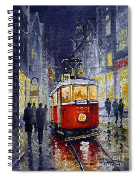 Prague Old Tram 06 Spiral Notebook