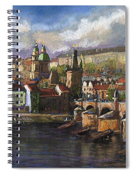 Prague Panorama Charles Bridge Prague Castle Spiral Notebook