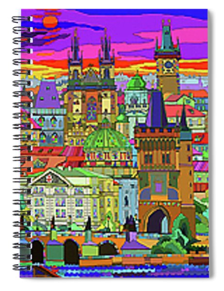 Prague Panorama Old Town Spiral Notebook