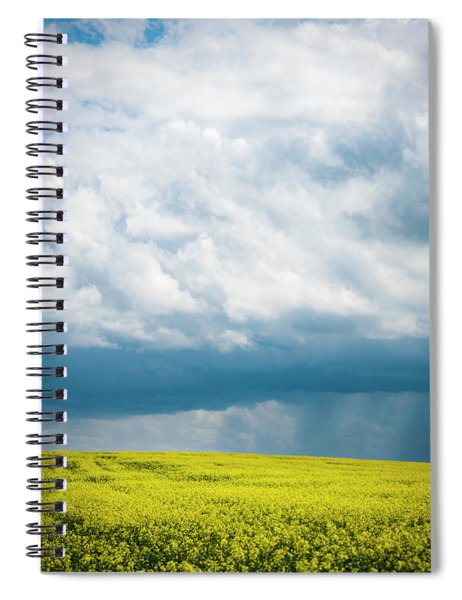 Prairie Storm Over The Canola Spiral Notebook