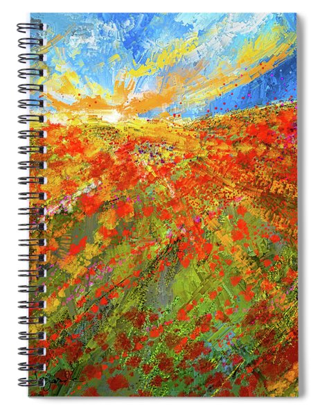 Prairie Sunrise - Poppies Art Spiral Notebook