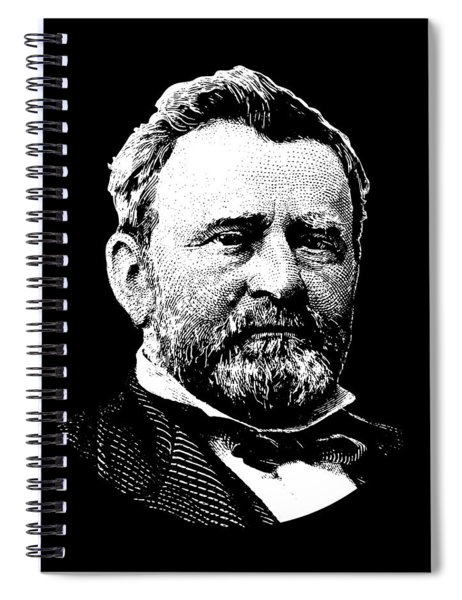 President Ulysses Grant Graphic - Black And White Spiral Notebook
