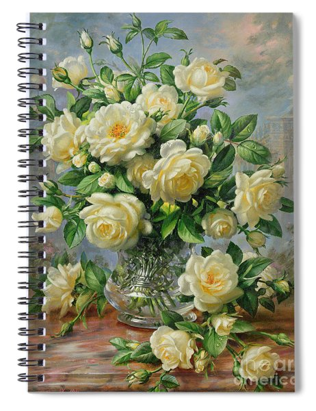 Princess Diana Roses In A Cut Glass Vase Spiral Notebook